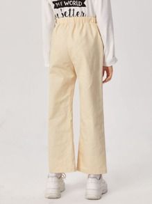 Girls Letter Graphic Pocket Patched Pants