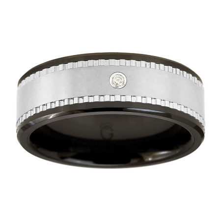 Men's Black Ceramic Ring w/ Tungsten & Diamond Accent, 11 , No Color Family