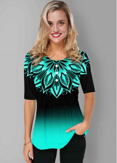 Tribal Print Round Neck Short Sleeve Ombre T Shirt - XL