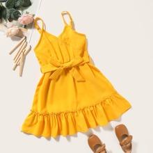 Kleinkind Maedchen Cami Kleid mit Raffungsaum und Guertel