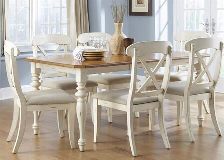 Ocean Isle Collection 303-CD-O7RLS 7-Piece Dining Room Set with Rectangular Dining Table and 6 X-Back Side Chairs in Bisque with Natural Pine