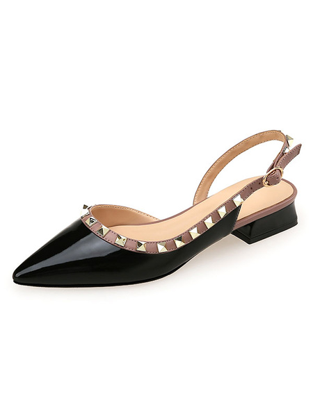 Milanoo Women Mid-Low Heels Slingbacks Flat Shoes With Rivets In Black