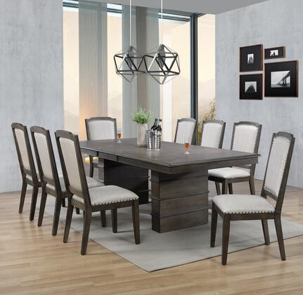 DLU-CA113-8C-9PC 9-Piece Dining Room Set with Expandable Dining Table + 8X Dining Chairs  in Grey and