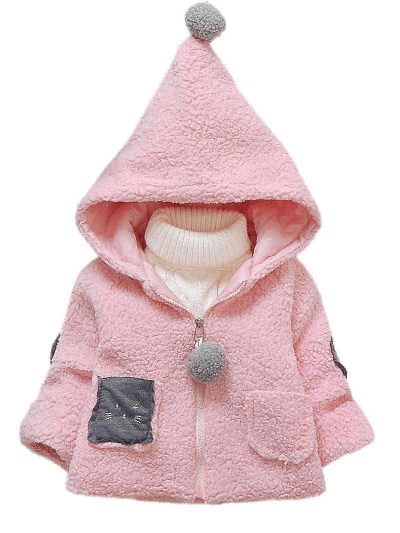 Ericdress Long Sleeve Hooded Zipper Baby Girl's Overcoat
