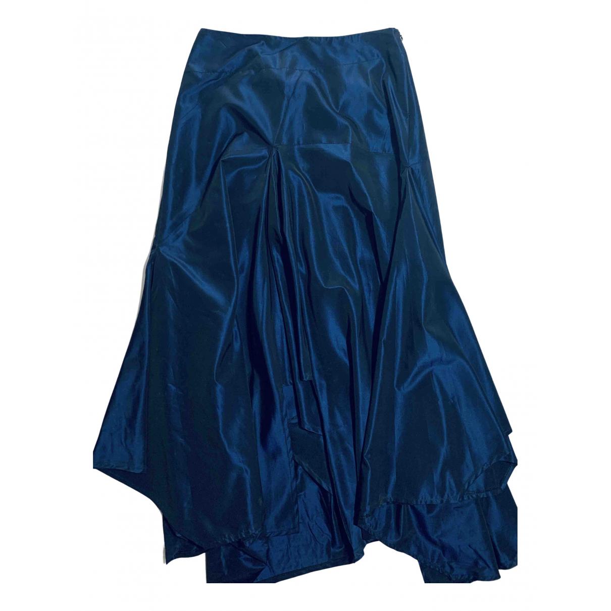 - Jupe   pour femme en soie - bleu