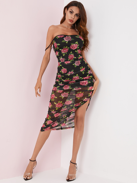 YOINS Black Backless Random Floral Print Slit Sleeveless Dress