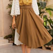 Paperbag Waist Buckle Belted Pleated Panel 2 In 1 Skirt