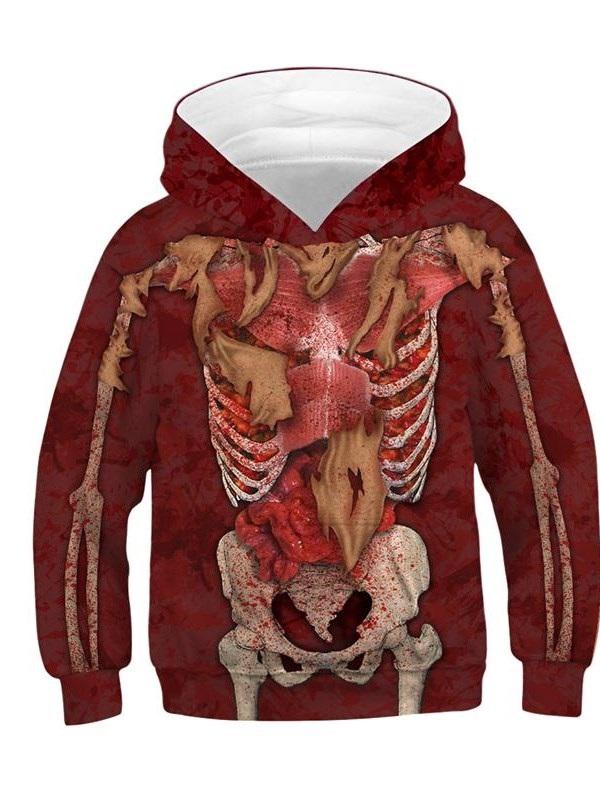 Halloween 3D Printed Internal Organs Pullover Thick Fall Kid's Hoodies