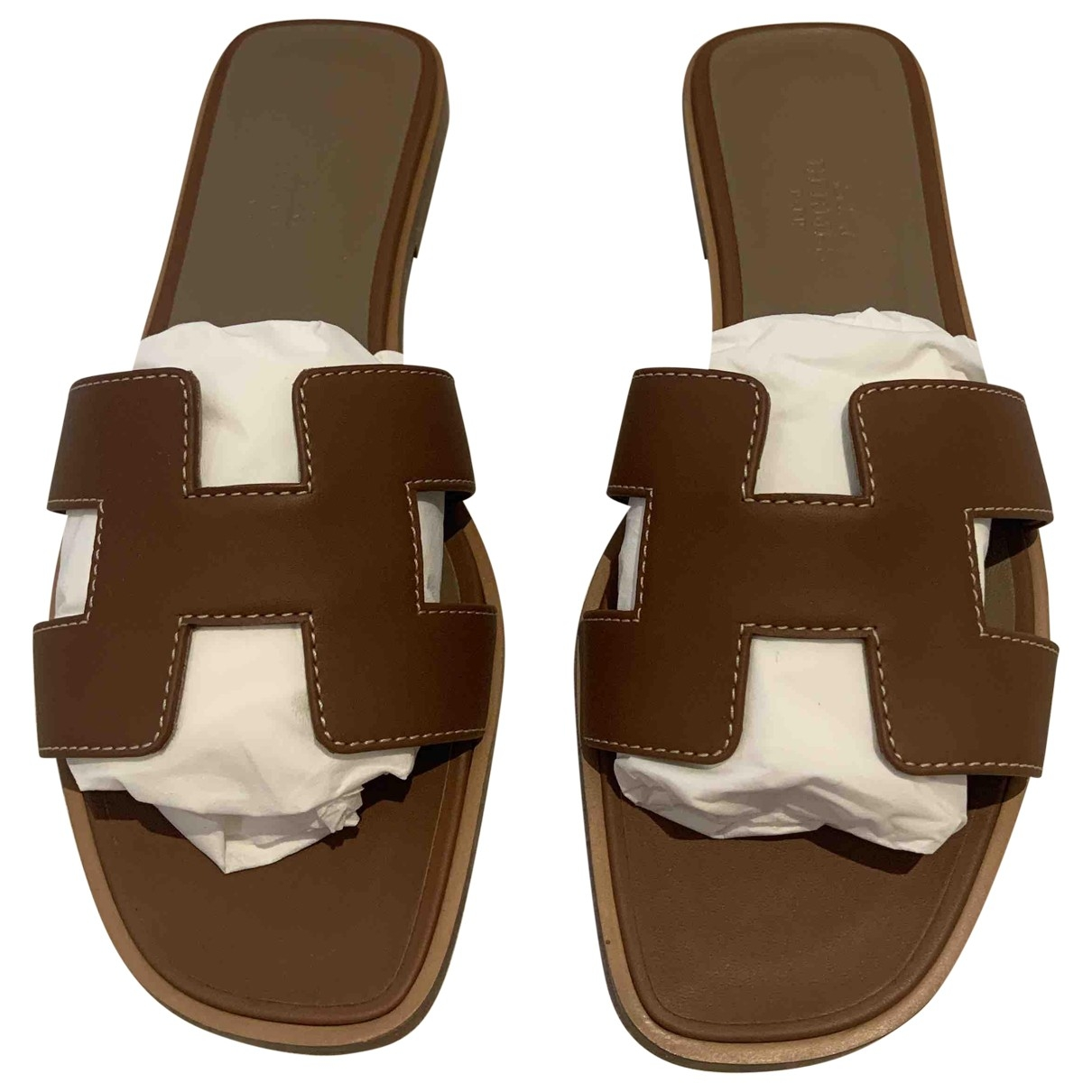 Hermès Oran Brown Leather Sandals for Women 37 EU