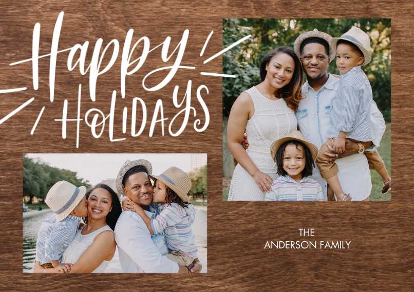 Holiday Photo Cards 5x7 Cards, Premium Cardstock 120lb with Scalloped Corners, Card & Stationery -Holiday Gold Happy by Tumbalina