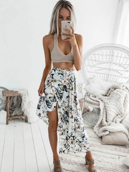 Milanoo White Floral Skirt Knotted Split Maxi Summer Skirt
