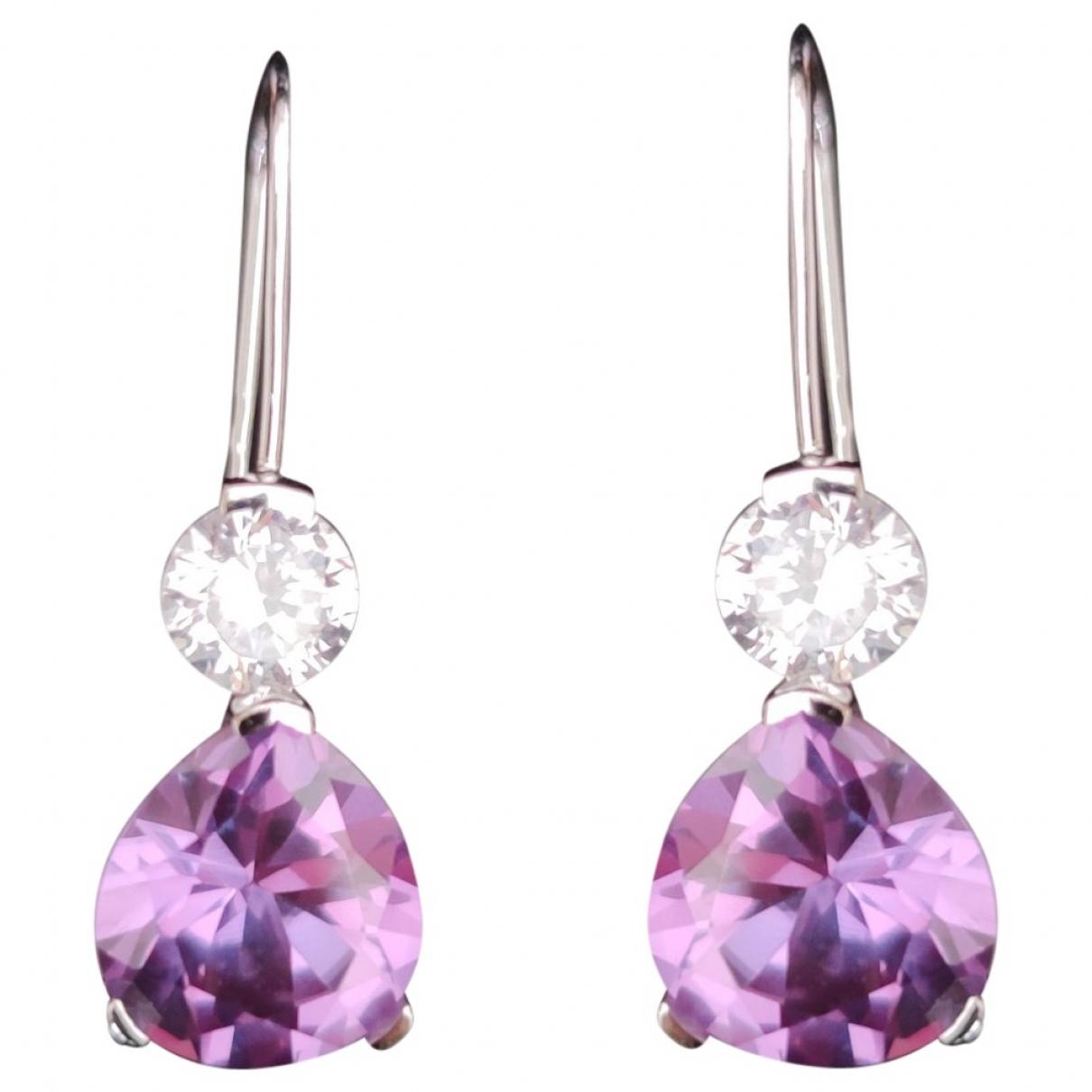 - Boucles doreilles   pour femme en argent - violet