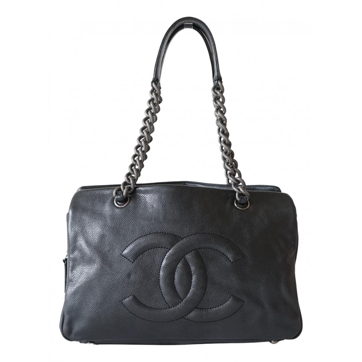 Chanel Grand shopping Handtasche in  Anthrazit Leder