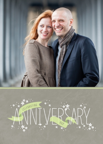 Anniversary Mail-for-Me Premium 5x7 Folded Card , Card & Stationery -Celebratory Ribbons