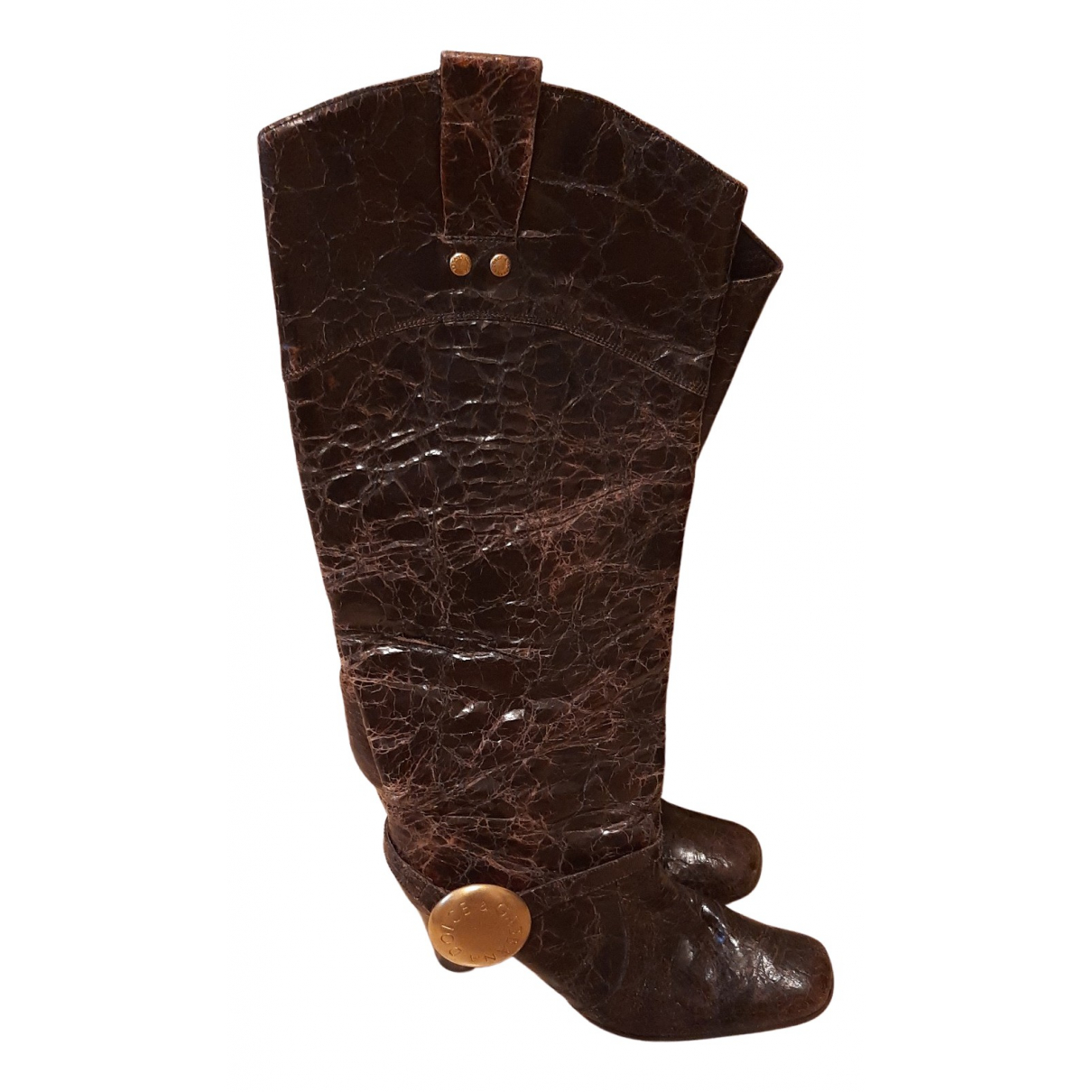 Dolce & Gabbana N Brown Leather Boots for Women 39.5 EU