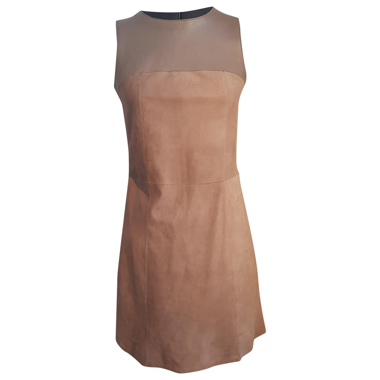 Ventcouvert \N Kleid in  Kamel Leder