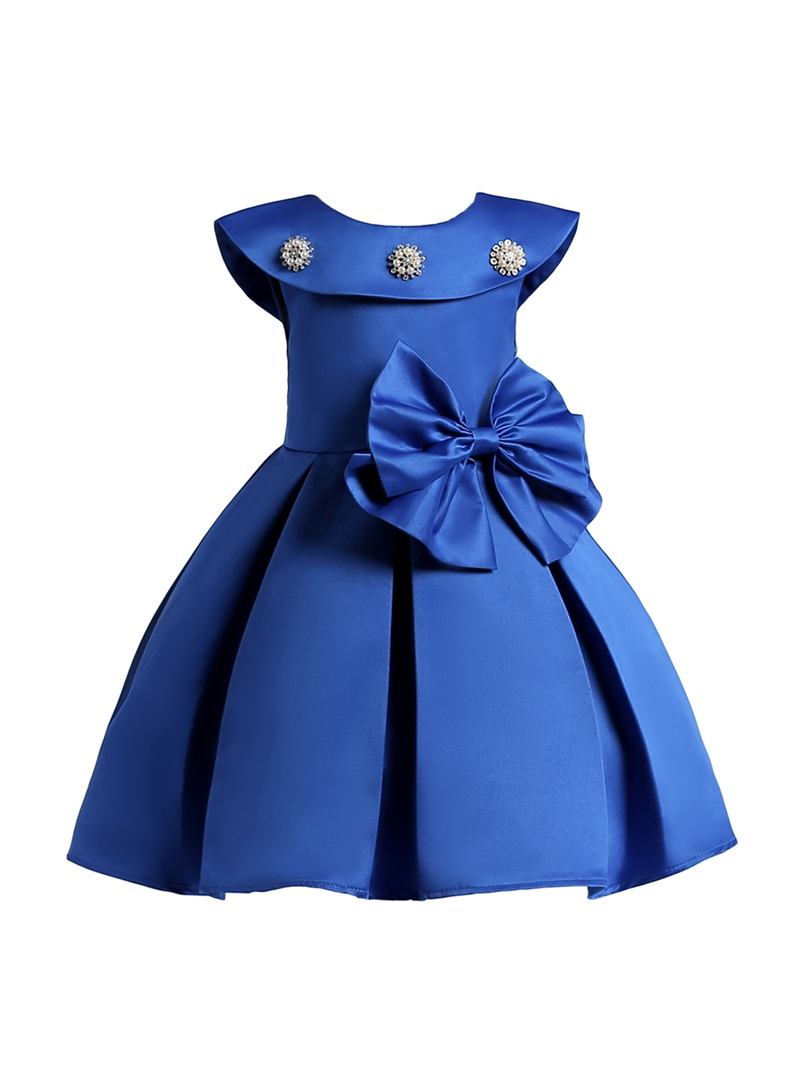 Ericdress Ruffled Collar Bowknot Pleated Girl's Princess Dress