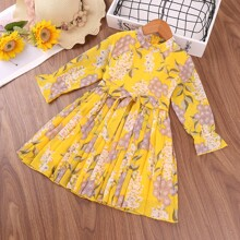 Toddler Girls Flower Print Belted Pleated Hem Dress