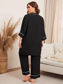 Plus Contrast Binding Belted Robe & Pants PJ Set