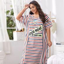 Plus Stripe And Slogan Graphic Tee Nightdress
