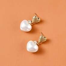 Ohrringe mit Kunstperlen und Herzen Dekor