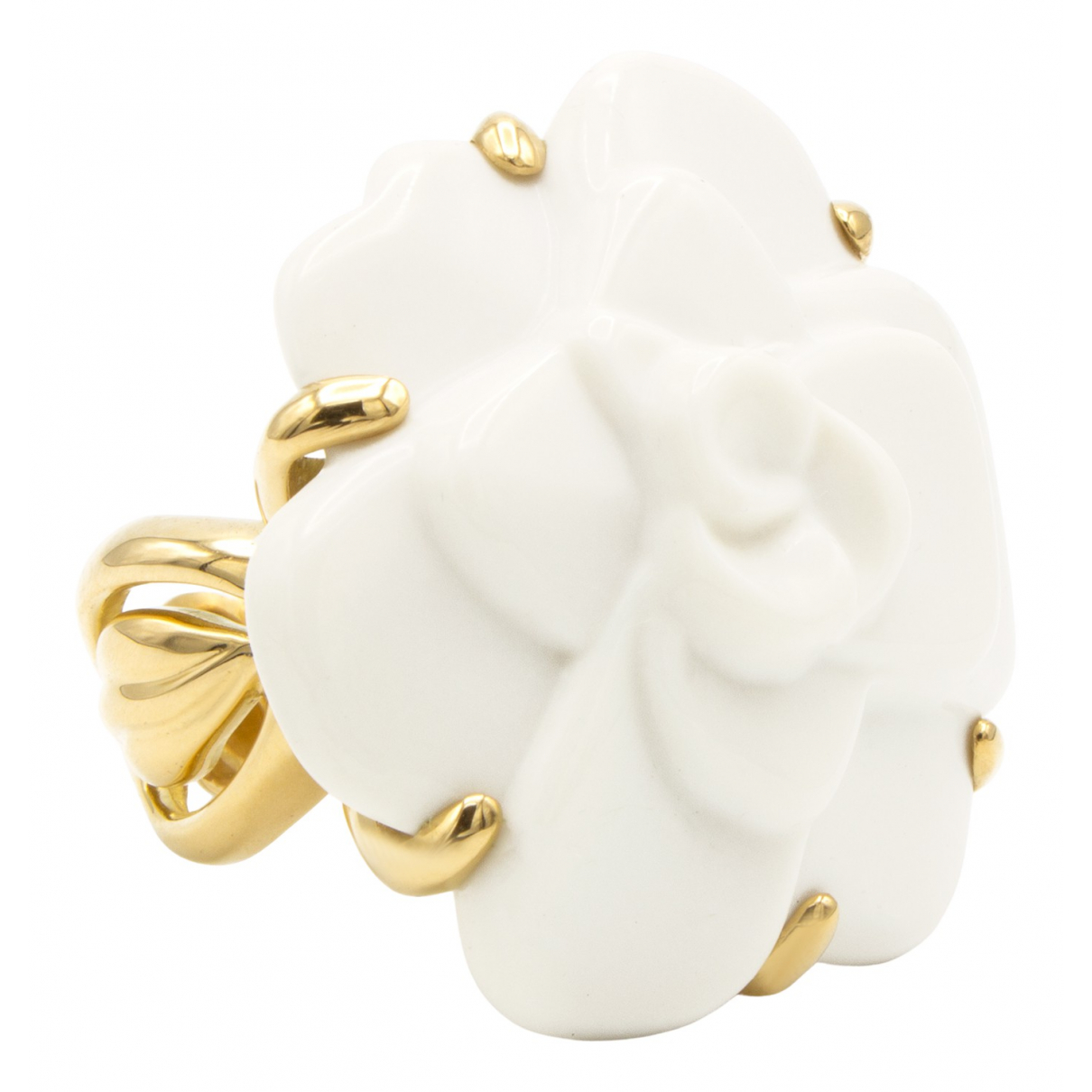 Chanel - Bague Camelia pour femme en or jaune - dore