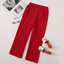 Elastic Waist Shirred Wide Leg Pants