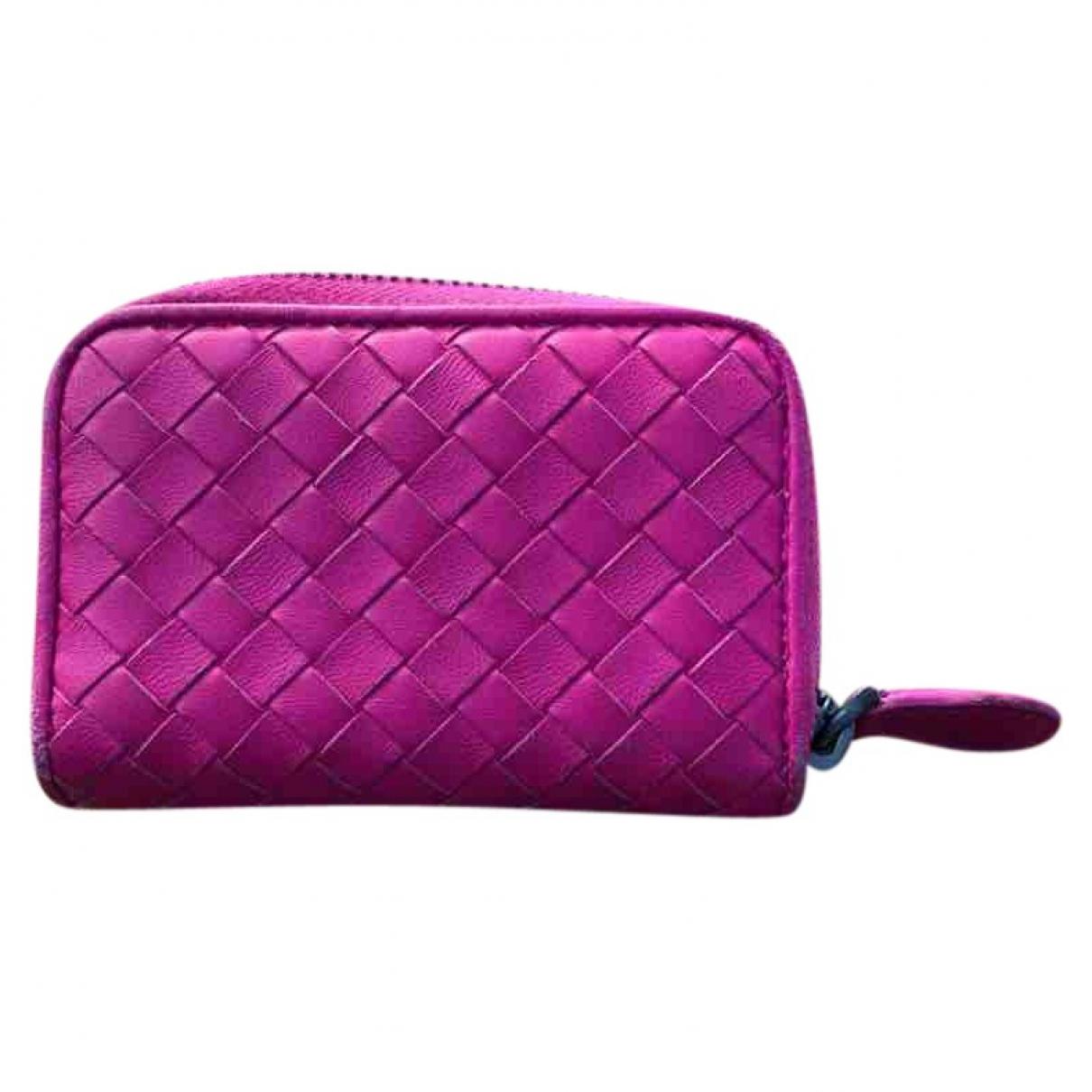 Bottega Veneta - Petite maroquinerie Intrecciato pour femme en cuir - rose
