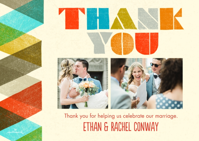 Wedding Thank You Mail-for-Me Premium 5x7 Flat Card, Card & Stationery -Colorful Stripes Thank You