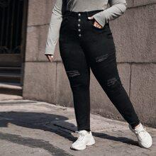 Skinny Jeans mit hoher Taille und Riss