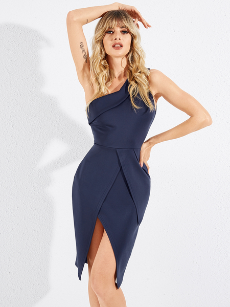 YOINS Navy Slit Design One Shoulder Sleeveless Dress