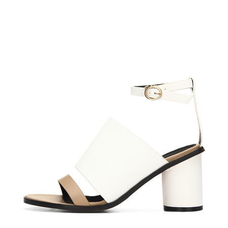 Yoins White Leather Look Peep Toe Round Heel Ankle Strap Sandals