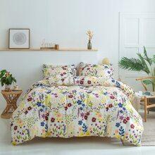 Set de cama con estampado de flor sin relleno