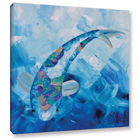 Blue Koi Gallery Wrapped Canvas Wall Art, One Size , Blue