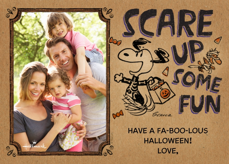 Halloween Photo Cards 5x7 Cards, Premium Cardstock 120lb with Rounded Corners, Card & Stationery -Snoopy Halloween Fun