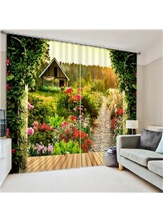 Beautiful Scenery of Garden Printing Polyester Custom Bedroom and Living Room 3D Curtain