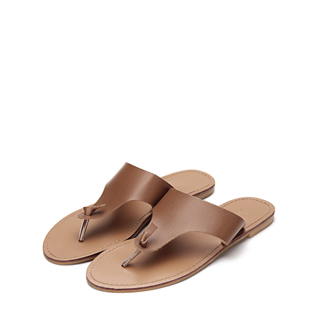 Yoins Brown Leather Look Simple Style Toe Post Flat Slippers