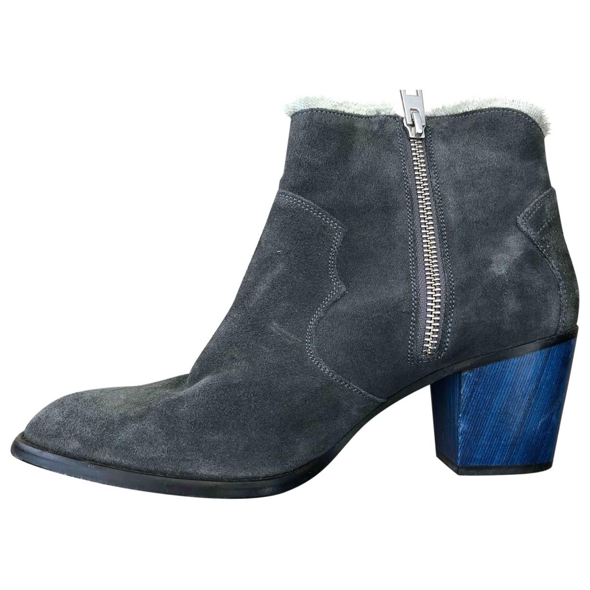 Zadig & Voltaire - Boots Molly pour femme en cuir - gris
