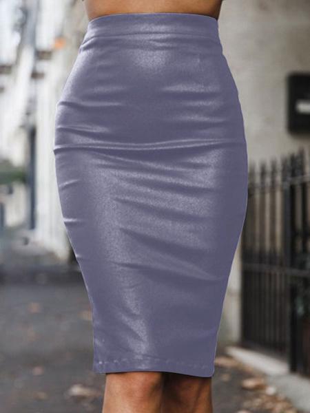 Milanoo Women Pencil Skirt High Waisted Leather Like Midi Skirt