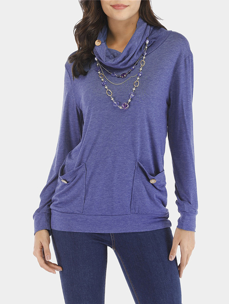 Yoins Blue Drape Sagging Long Sleeves Blouses With Patch Pockets