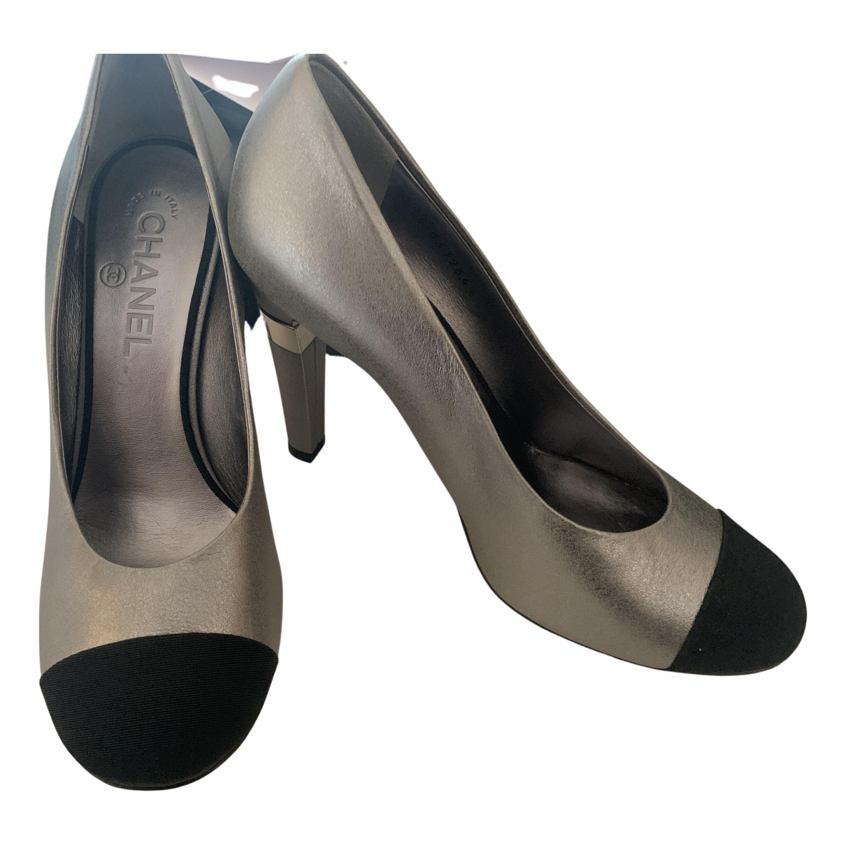 Chanel \N Silver Leather Heels for Women 38.5 EU