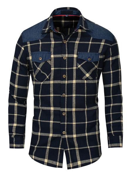 Milanoo Camisa de cuadros escoceses 100% algodon de patchwork de ajuste regular para hombres con bolsillos