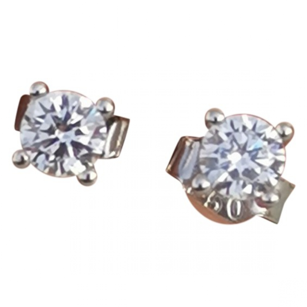 Non Signé / Unsigned Puces en diamants White White gold Earrings for Women \N