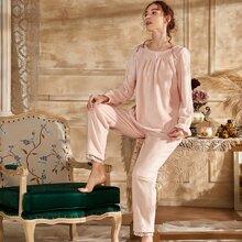 Contrast Lace Bow Detail Flannel Pajama Set