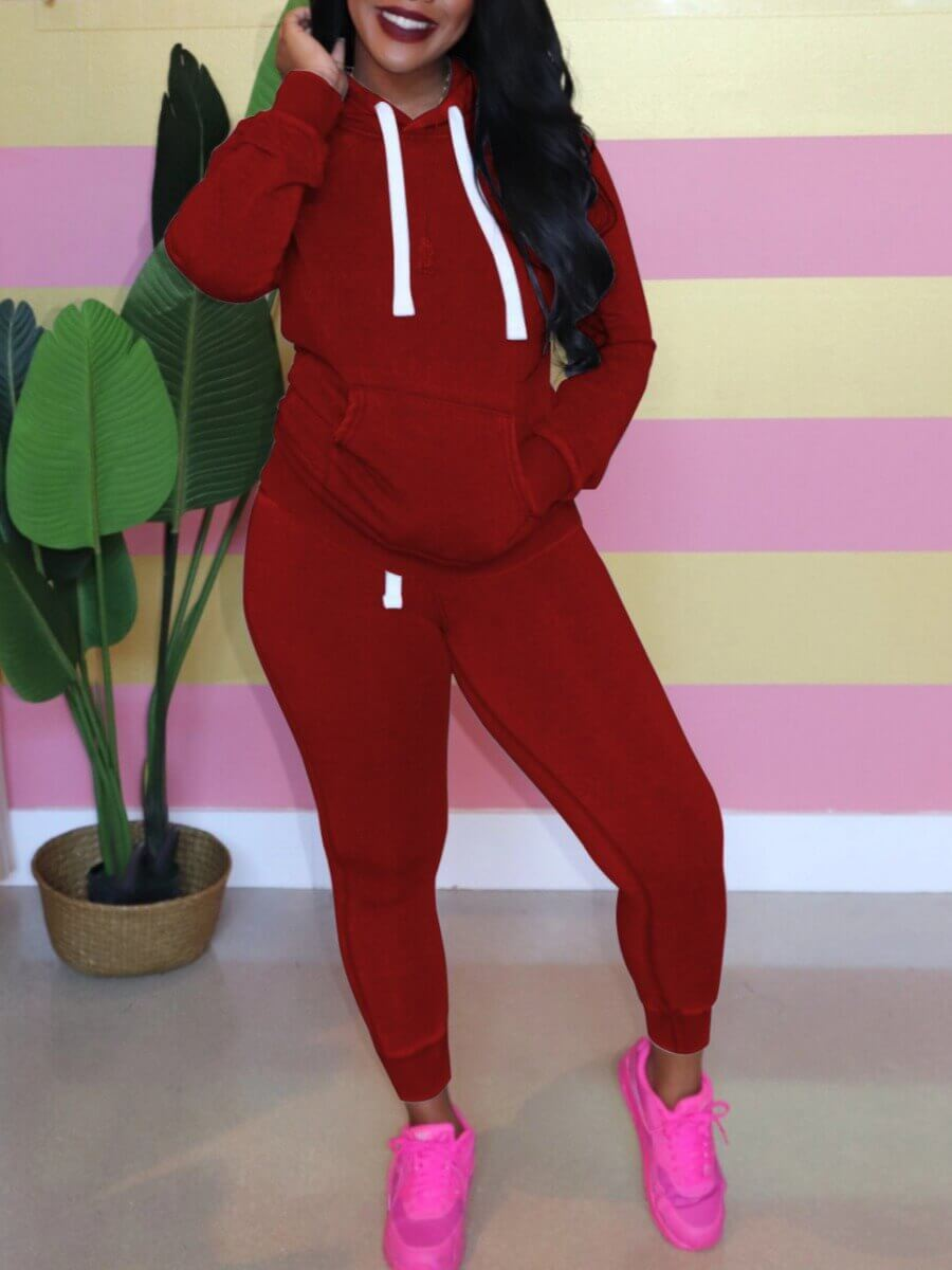 LW Lovely Casual Hooded Collar Kangaroo Pocket Wine Red Two Piece Pants Set