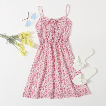Ditsy Floral Lace Up Front Cami Dress