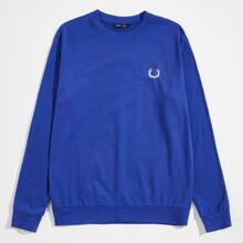 Men Antlers Embroidery Pullover
