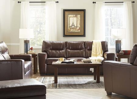 Lavish Collection 2043-03SLCO 4 Piece Living Room Set with Sofa  Loveseat  Chair and Ottoman in Soft Touch Chestnut