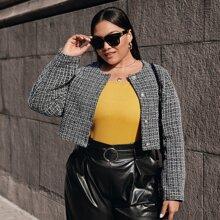 Tweed Jacke mit Knopfen vorn und Plaid Muster