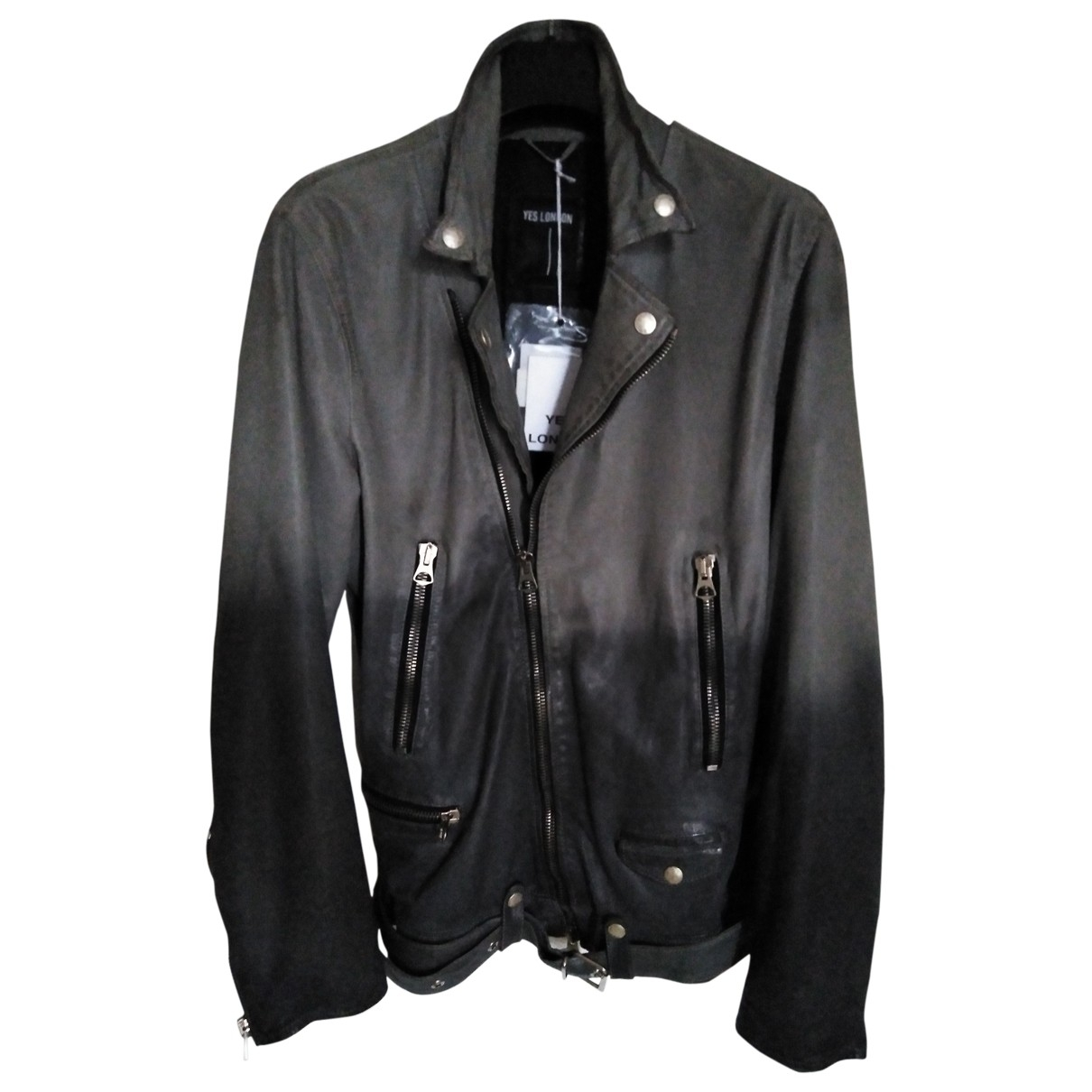 Non Signé / Unsigned \N Grey Leather jacket  for Men M International